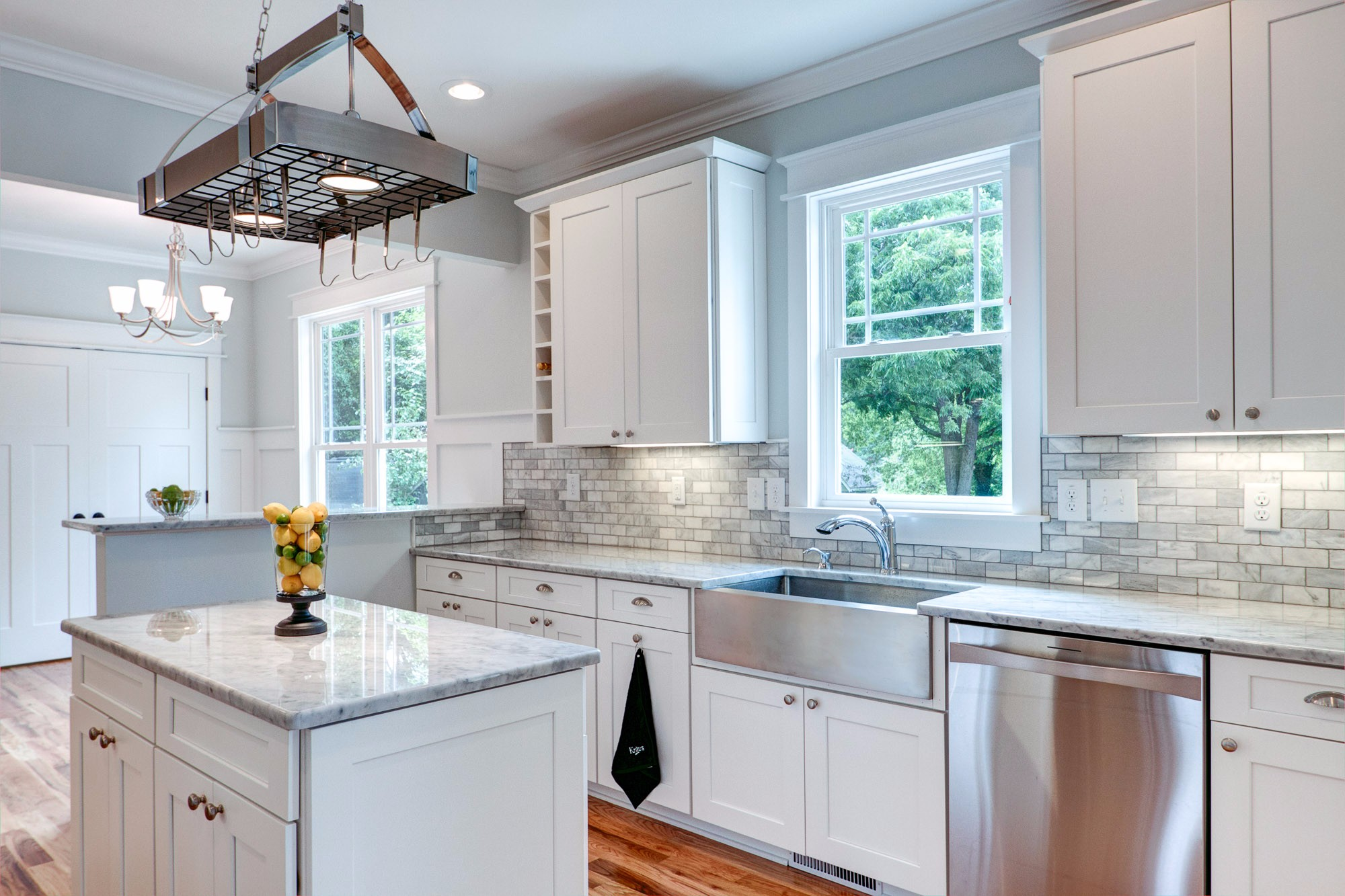 New Construction Home with White Marble and Stainless Steel Kitchen in Durham NC